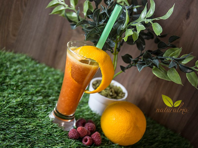 batido naranja frambuesa